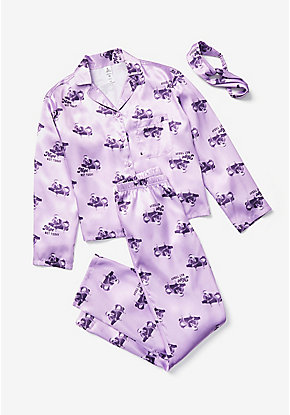 Koala Silky Button Up Pajama Set & Headwrap