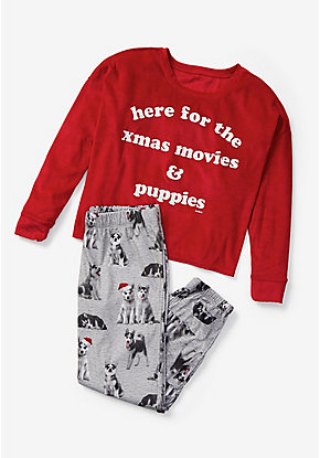 X-Mas Movies & Puppies Pajama Set