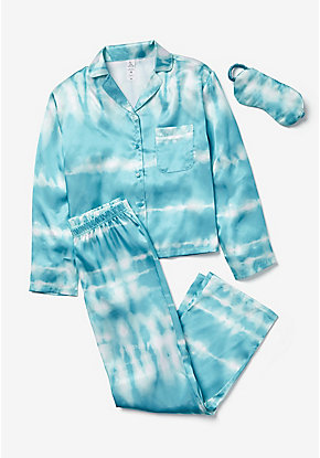 Tie Dye Silky Button Up Pajama Set & Eye Mask