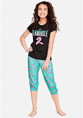19282534543d Let s Flamingle Pouch Pajama Set