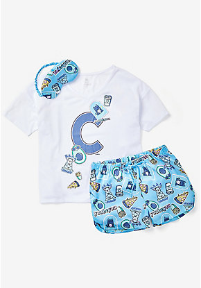 Initial Sticker Pajama Set & Eye Mask