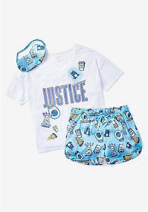 Logo Sticker Pajama Set & Eye Mask