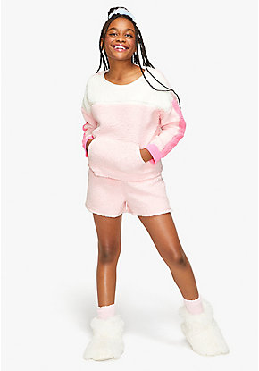 Colorblock Sherpa Short Pajama Set