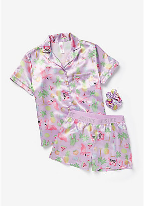 Tropical Silky Button Up Pajama Set