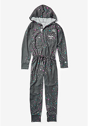 Shine Like A Star Hooded One Piece Pajamas