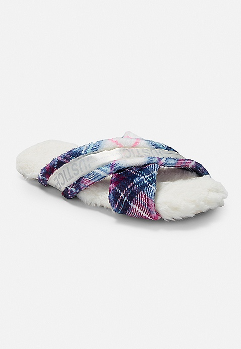 for whole family casual shoes meet Plaid Criss Cross Slippers | Justice