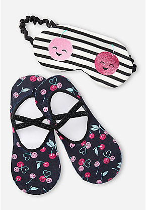 Cherries Eye Mask & Slipper Socks Set