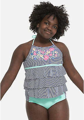 Floral High Neck Halter Tiered Tankini