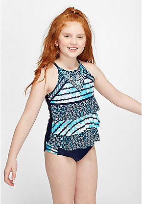 Tie Dye Medallion Tiered Tankini