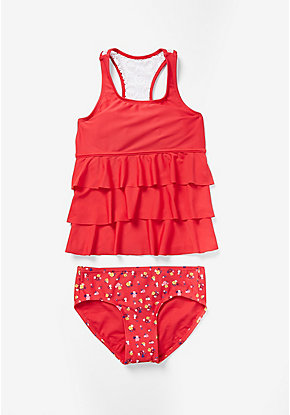Floral & Lace Tiered Tankini