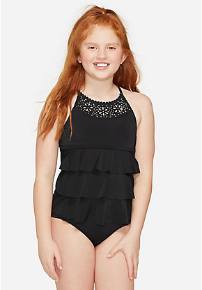 Laser Cut High Neck Tiered Tankini