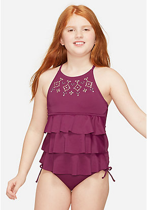 Studded Tiered Tankini