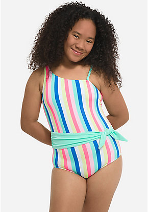 Candy Stripe One Shoulder One Piece