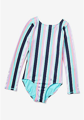 Foil Stripe Long Sleeve Rashguard One Piece