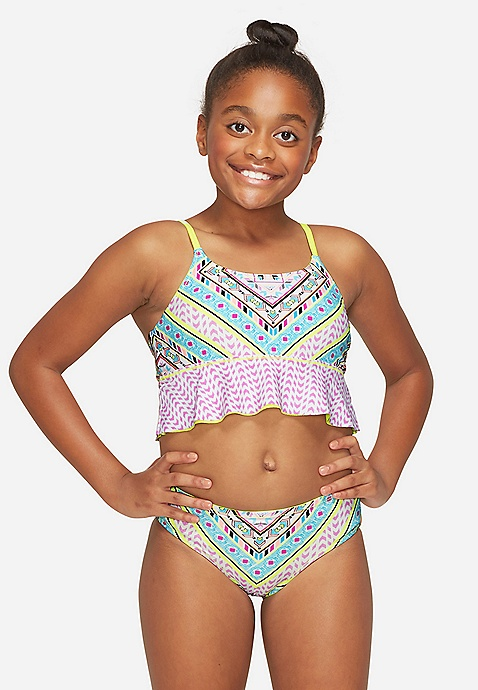 Justice Size 12 Girls Swimsuit Bikini Tie Dye Geometric Reversible