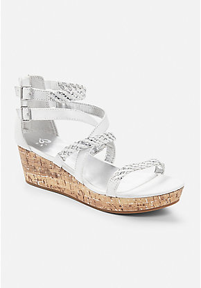 Braided Cork Wedge Sandal