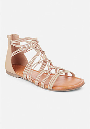Woven Stretch Gladiator Sandal