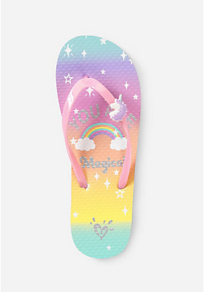 You Are Magical Unicorn Charm Flip Flops