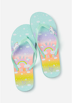 Always Dreaming Unicorn Charm Flip Flops