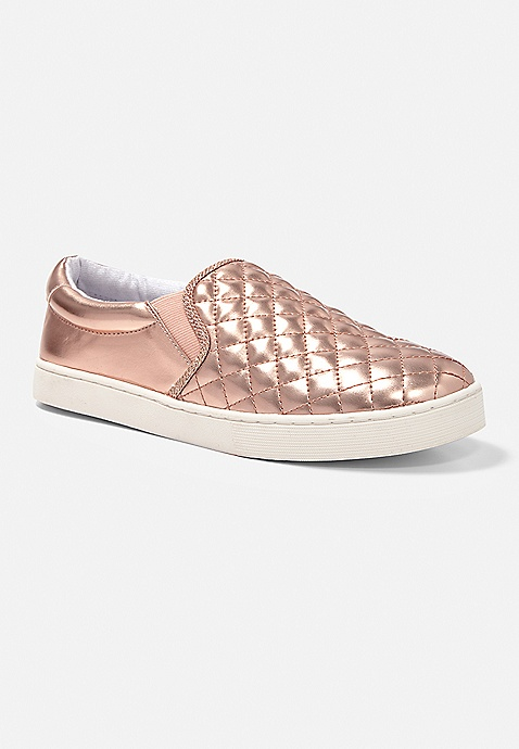c443464b1ac1 Rose Gold Quilted Slip On Sneaker