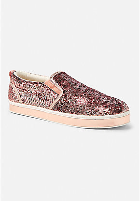 Flip Sequin Animal Print Slip On Sneaker