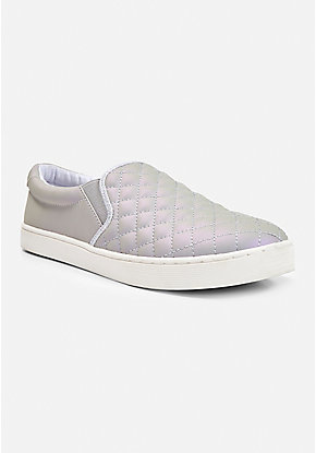 Iridescent Quilted Slip On Sneaker