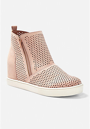 Perforated Glitter Wedge Bootie