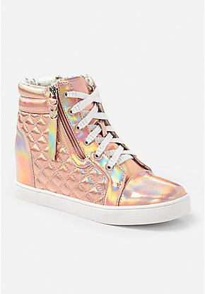 Metallic Quilted wedge High Top Sneaker