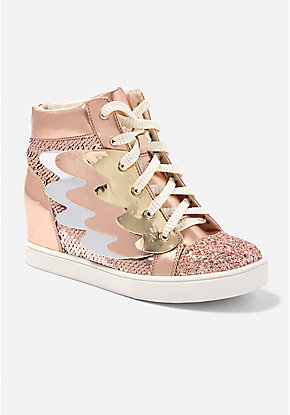 Metallic Winged Wedge High Top Sneaker