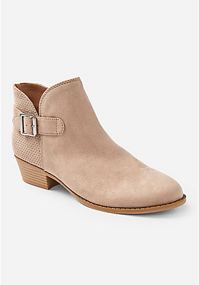 Perforated Buckle Bootie