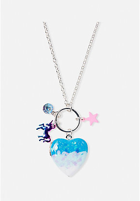 Blue Cluster Locket Necklace