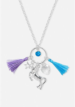 Unicorn & Tassel Cluster Charm Pendant Necklace