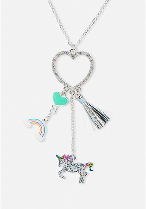 Unicorn & Heart Cluster Charm Long Pendant Necklace