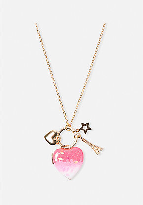 Pink Cluster Locket Necklace