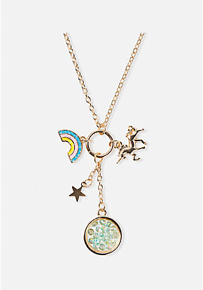 Unicorn Magic Cluster Charm Pendant Necklace