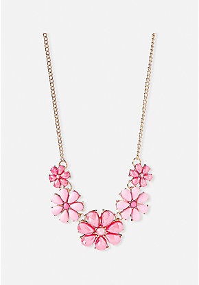 Coral Flower Statement Necklace