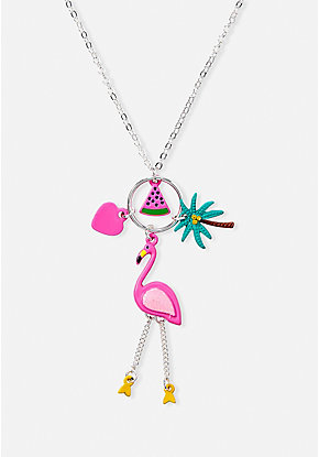 Tropical Flamingo Cluster Charm Pendant Necklace