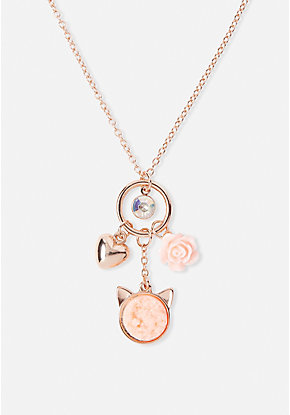 Cat Crystal Cluster Charm Pendant Necklace