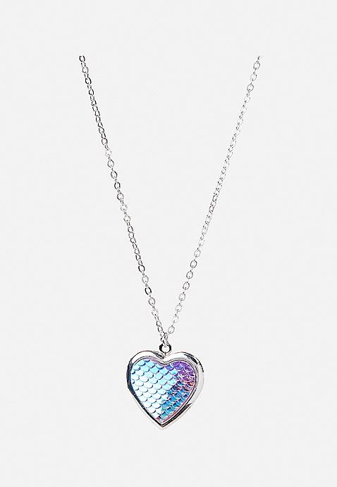mermaid scale heart locket necklace