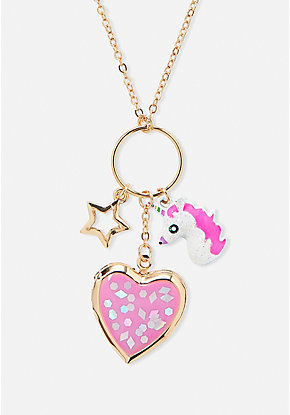 Unicorn Cluster Locket Necklace