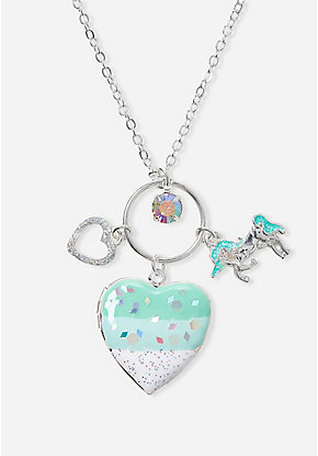 Mint Unicorn Cluster Locket Necklace