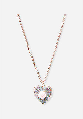 Glitter Rose Heart Locket Necklace