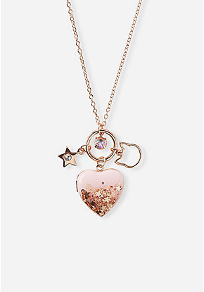 Glitter Cluster Locket Necklace