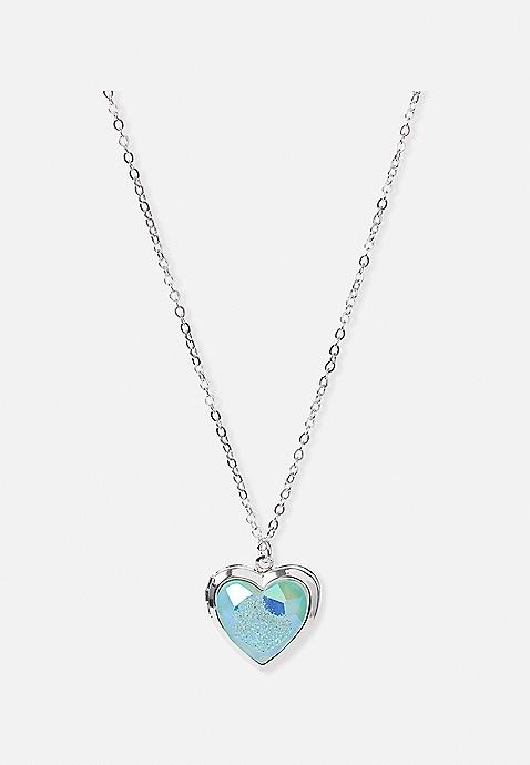 gemstone heart locket necklace