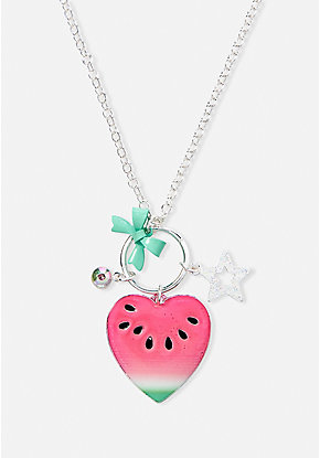 Watermelon Heart Cluster Charm Pendant Necklace