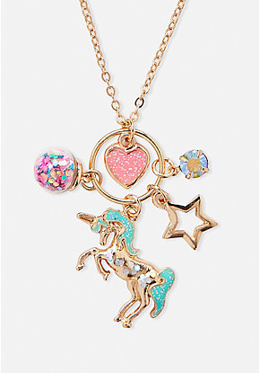 Unicorn Cluster Charm Pendant Necklace