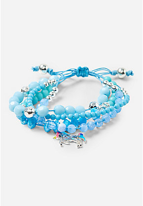 Blue Unicorn Beaded Stretch Bracelet
