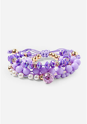 Purple Glitter Globe Beaded Stretch Bracelet