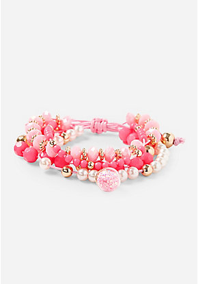 Pink Glitter Globe Beaded Stretch Bracelet