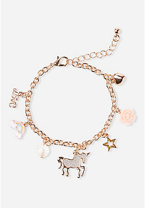 Rose Unicorn Charm Bracelet